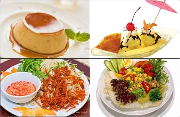 kem trái cây và các loại ăn vặt